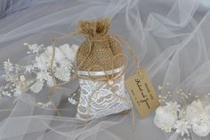 Lace Rustic Wedding Favor Bag with Tag Quantity 20 Rustic Wedding Wedding Favor Bags  Custom colors (0.20 USD) by DreamWeddingg