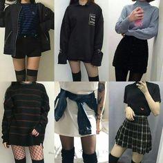 Egirl Fashion, Teen Fashion Outfits, Edgy Outfits, Grunge Outfits, Cute Fashion, Korean Fashion, Black Outfits, Aesthetic Grunge Outfit, Aesthetic Clothes