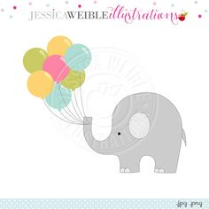 Lots of Balloons Elephant Digital Clipart - JW Illustrations