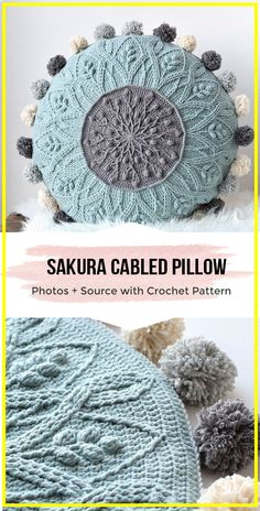 Sakura Cabled Crochet Pillow PATTERN - easy crochet pillow pattern for beginners crochet projects Sakura Cabled Crochet Pillow PATTERN Crochet Cable, Crochet Home, Thread Crochet, Diy Crochet, Crochet Crafts, Doilies Crochet, Crochet Cushion Cover, Crochet Cushions, Cushion Cover Pattern
