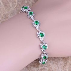 Outstanding Green Emerald 925 Sterling Silver Overlay Link Chain Bracelet 7 - 8 inch Free Shipping & Gift Bag S0552