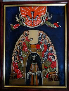 Icoane pe Sticla Pentecost, Orthodox Icons, Christian, Glass, Painting, Angels, Art, Religious Pictures, Pictures