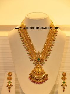 Gold Necklace with Beads and Kundans - Indian Jewellery Designs Gold Bangles Design, Gold Jewellery Design, Diamond Jewellery, Indian Jewelry Sets, India Jewelry, Temple Jewellery, Jewelry Art, Gold Mangalsutra Designs, Real Gold Jewelry
