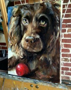 SPARROW Boykin Spaniel Red Ball art gift for Dog lover portrait pet painting Animal Paintings, Animal Drawings, Boykin Spaniel, Spaniels, Dog Artwork, Wildlife Art, Dog Portraits, Dog Gifts, Painting Inspiration