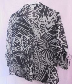 Draper's & Damon's Button-shirt/ Blouse Black and White Size PS Sleeves w/ties  #DrapersDamons #ButtonDownShirt #casual