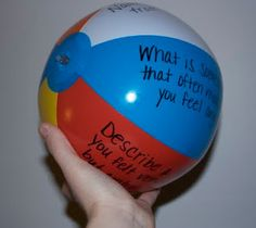 My Piggyback Idea:  Getting-to-Know-You Activity... Write one question on each color of the beach ball (use a bigger beach ball).  Children answer the question that their right hand lands on.  If they land on the question again, the group has to remember what his/her answer was to that question... encourages active listening.  You could play this in small groups of 4-8 or as a whole class during the first week of school. beaches, idea, balls, school counseling office, school counselor, beach ball, game, blog, small groups