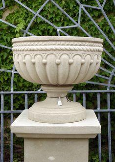 Antique garden urn, Garmkirk co Diy Garden Fountains, Garden Urns, Stone Planters, Urn Planters, Small Yard Landscaping, Flower Boxes, Flowers, Garden Ornaments, Stone Carving
