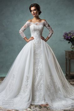 amelia sposa 2016 wedding dresses off the shoulder lace long sleeves overskirt stunning ball gown wedding dress celeste