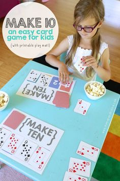 Miss G loves playing all sorts of card games, so when I came across Make Ten, a simple game that focuses math skills and uses just a generic deck of cards, I knew it would be a total hit. The idea came from this awesome book that's brand new called 100 Fu Math Card Games, Card Games For Kids, Math For Kids, Printable Math Games, Learning Games For Kids, Kid Games, Educational Games For Kids, Family Games, Simple Games For Kids