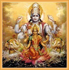 Vishnu and Lakshmi-Performing the Pumsavana Ritualistic Ceremony