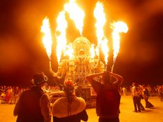 Art installation El Pulpo Mecanico warms up night-time revellers at Burning Man, the madcap arts and music festival staged each year in Nevada's Black Rock desert