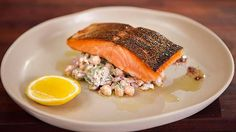 Try this Pan Fried Atlantic Salmon with Spiced Chickpeas Dill and Sumac recipe. This recipe is from the show Everyday Gourmet. Trout Recipes, Salmon Recipes, Seafood Recipes, Cooking Tv, Cooking Recipes, Chickpea Recipes, Healthy Recipes, Chickpea Salad, Spiced Chickpeas Recipe
