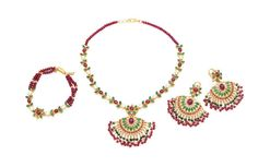 A suite of emerald, ruby and freshwater pearl Indian jewellery