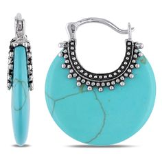 Miadora Sterling Silver Turquoise Clip-In Hoop Earrings (Sterling Silver Turquoise Clip Earrings), Women's, White
