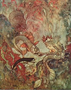 The Merman King    The Little Mermaid  Edmund Dulac illustration