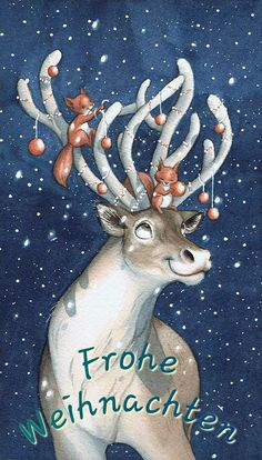 Christmas Deer, Christmas Pictures, Winter Christmas, Vintage Christmas, Christmas Crafts, Christmas Nails, Holiday, Watercolor Christmas Cards, Christmas Drawing