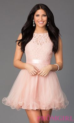 75adfcd798b Image of illusion sweetheart short babydoll party dress. Style  DQ-8741  Front Image