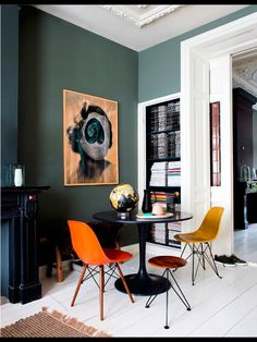 orange | teal | tonal | tulip table | gold | dining nook https://emfurn.com/collections/home-chairs