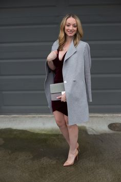 A dressy Valentine's Day outfit idea with a velvet bodycon dress, nude heels, and wrap coat. Full post: https://avecamber.blogspot.com/2018/02/valentines-day-outfit-idea-velvet-dress.html