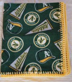 MLB Oakland A's Baseball Fleece Minky 30 x 36 by JeannaSadorra, $25.00