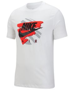 Nike Men's Graphic T-Shirt - White/red Nike Clothes Mens, Unisex Baby Clothes, Nike Outfits, Cool Outfits, Camisa Nike, Lacoste, Back To School Outfits, Nike Men, Shirt Style