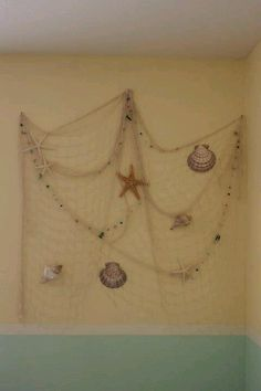 My Homemade Wall Decor Fishnet Sea Shells And A Starfish