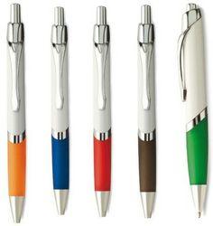 Balpennen met drukmechanisme, white grip en glimmende metalen accenten