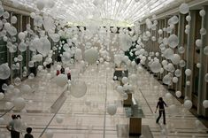 Scattered Crowd: Thousands of White Balloons Suspended by William Forsythe