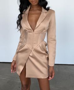 """""""MIKA"""" V Neck Blazer Dress Source by dress outfits Tux Dress, Blazer Dress, Mode Outfits, Dress Outfits, Fashion Dresses, Maxi Dresses, Fashion Clothes, Shopping Outfits, Shopping Sites"""