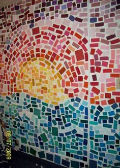 Wall mural. Easy and practically free. All you need is paint samples and sticky tack