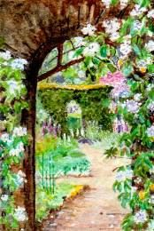Original #miniature #garden watercolor painting. 1:12 scale. by Buyminiart