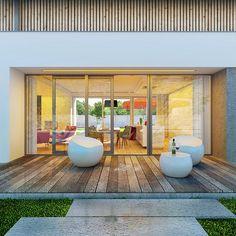 Otwarty - dom parterowy z poddaszem użytkowym i garażem   doomo Full House, Dream Houses, Architecture, Summer, House, Arquitetura, Dream Homes, Summer Time, Architecture Design