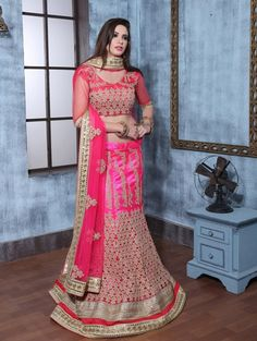 Pink Bhagalpuri Silk Lehnga Choli with Embroidery Work