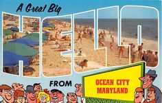 Large Letter Postcard A Great Big Hello from Ocean City Maryland Postcard Chrome | eBay