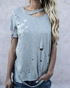 29a9cc87d89 Womens ripped t shirt with holes short sleeve