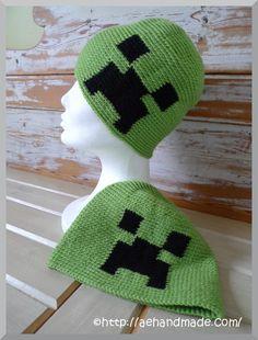 Virka Minecraft-mössa med Creeper på.