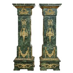 Pair of Ormolu-Mounted Veined Marble Pedestals | From a unique collection of antique and modern pedestals and columns at https://www.1stdibs.com/furniture/building-garden/pedestals-columns/