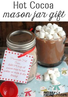 Hot Cocoa Mason Jar Gift -  Warm someone's heart and body with DIY gifts in a jar like this Mason jar recipe for hot cocoa.