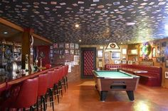 Classic Man Cave Pictures : Classic pool table under ceiling hanging lights and wall mount tv