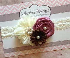Gorgeous vintage inspired headband. Original 3loveliesbowtique design. 3 gorgeous flowers are attached to soft cream lace. Headband has felt