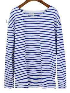 Blue Striped Vintage Loose Cotton T-Shirt.  Very Coco Chanelesque