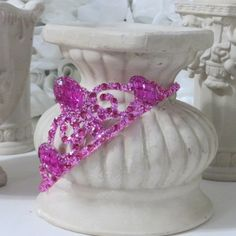 Hot pink princess tiara with rhinestones and glitter $12.00 by AVCustomDesigns