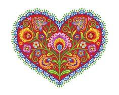 "Polish Floral Botanical Folk Art Print Wycinanki Giclee ""Joyful Heart"" Papercut Style Flower Gift 8 x 10 or 11 x 14 Housewarming Folk Art Flowers, Flower Art, Folk Embroidery, Embroidery Patterns, Polish Embroidery, Bordado Popular, Frida Art, Polish Folk Art, Bordado Floral"