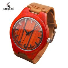 Burnt Orange Wood Wristwatch With Brown Leather Band