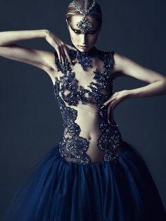 """Noir et Bleu"" | Model: CeCe Yost, Photographer: Kinya Ota, Fiercive Magazie, 2013 Local girl made it!"