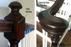 How To Gel Stain (ugly) Oak Banisters Without Sanding – practicallyspoile… – Furniture Makeover Stair Banister, Banisters, Banister Ideas, Railings, Home Renovation, Home Remodeling, Kitchen Remodeling, Banister Remodel, Java Gel Stains
