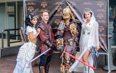 Anakin & Padme Steamwalker, Dude Vader and Steamy Leia.  #Steampunk #StarWars #Cosplay