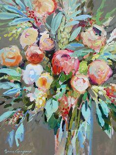 Продолжаю рассказывать о художниках, чьи работы меня впечатляют и вдохновляют, даже если их стиль рисования совсем не похож на мой. Американская художница Erin Fitzhugh Gregory в первую очередь известна своими яркими цветочными мотивами. Кроме того, среди ее картин можно найти абстрактную живопись и изображения людей. Из техник Эрин чаще всего использует работу с акрилом и масло.