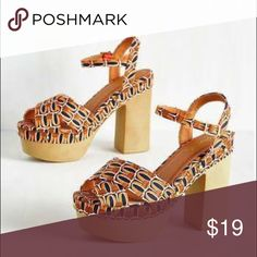 Modcloth tan pattern retro heels 7.5 new Originally $49.99 ! Never worn ! Super cute Modcloth Heels in womens size US 7.5  Platform is 2 inch, heel is 5 inch (feels like 3 inch)  Adjustable Strap Rated 4/5 by customers on modcloth ModCloth Shoes Platforms