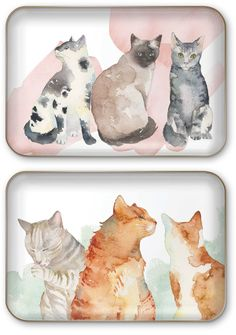 DECORATIVE TRAYS by Punch Studio Each decorative tray has a glossy coated printed surface with a metallic finish base Trays are not food safe Tray size: x Cat Lover Gifts, Cat Gifts, Cat Lovers, Warrior Cats, Tray Decor, Studio, Punch, Decorative Trays, Cute Animals